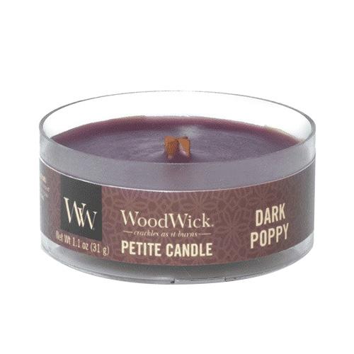 Drobná svíčka WoodWick Tmavý mák, 31 g