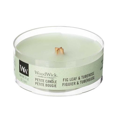 Drobná svíčka WoodWick Fíkový list a tuberóza, 31 g