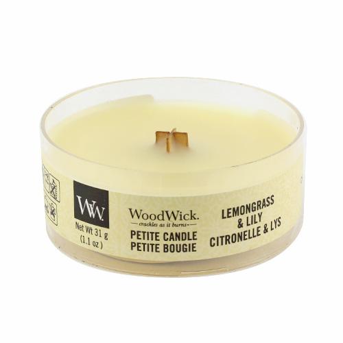 Drobná svíčka WoodWick Citronová tráva a lilie, 31 g