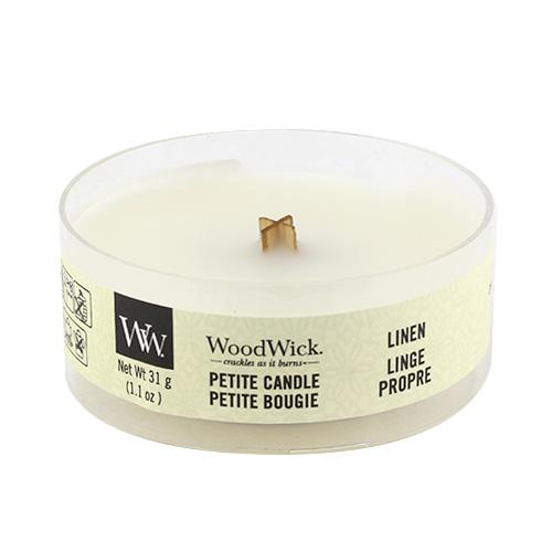 Drobná svíčka WoodWick Čisté prádlo, 31 g