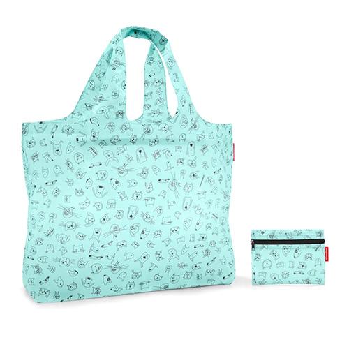 Plážová taška Reisenthel Kočička a pejsek, zelená | mini maxi beachbag kids