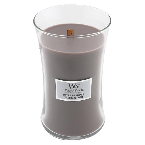Svíčka oválná váza WoodWick Semišové santalové dřevo, 609.5 g