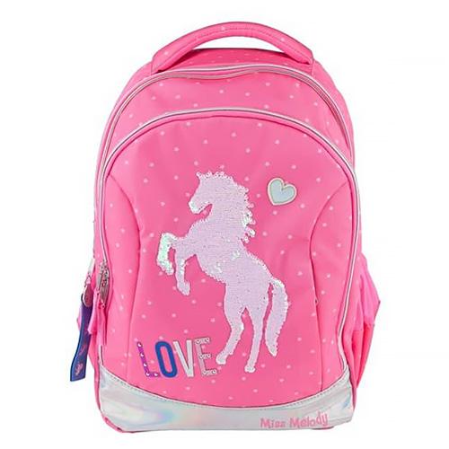 Školní batoh Miss Melody Kůň, měnící flitrový obrázek, růžový
