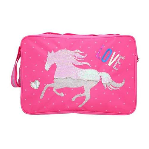 Taška přes rameno Miss Melody Stříbrný kůň, měnící flitrový obrázek, růžová