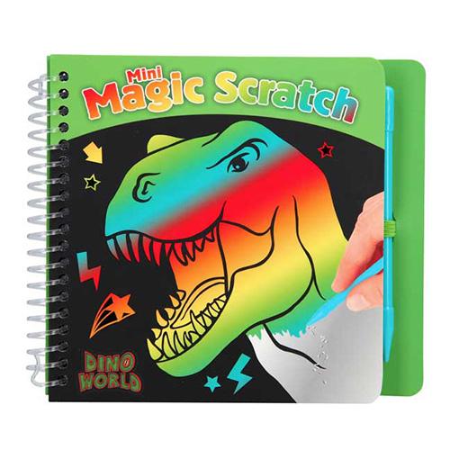 Škrabací sešit Dino World S duhovým podkladem, včetně škrabátka