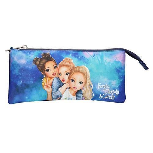 Školní penál taštička Top Model Fergie, Christy a Candy, modrý
