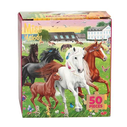 Puzzle Miss Melody ASST Koně na louce, 50 dílků