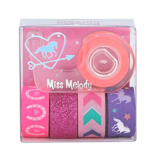 Dekorační lepicí pásky Miss Melody ASST 1x držák, 5x páska - růžové