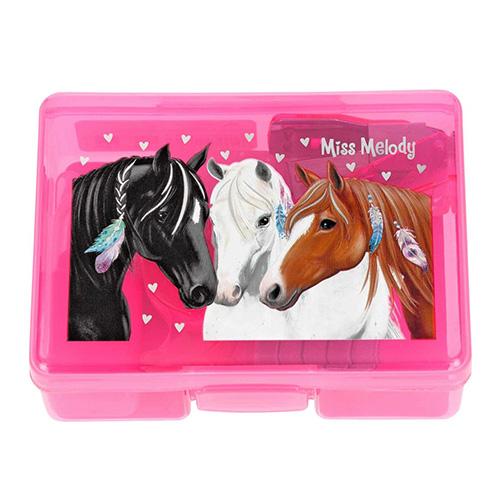Mini set na psací stůl Miss Melody ASST Růžový box - zvýrazňovač, lepící bločky, sešívačka, sponky,