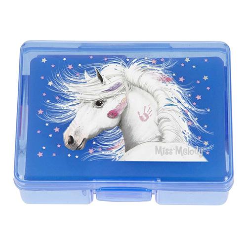 Mini set na psací stůl Miss Melody ASST Modrý box - zvýrazňovač, lepící bločky, sešívačka, sponky, l