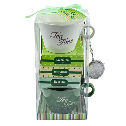 Dárkové sety Dárková sada Zelený čaj 3 g, Černý čaj 3 g, 2 x keramický hrnek s nápisem