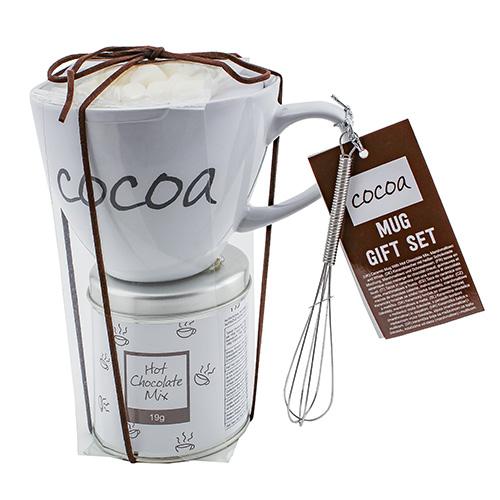 Dárkové sety Dárková sada Čokoláda 19 g, bílý keramický hrnek s nápisem 300 ml, Marshm