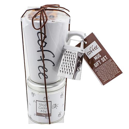 Dárkové sety Dárková sada Vanilková káva 19 g, bílý keramický hrnek s nápisem 300 ml,