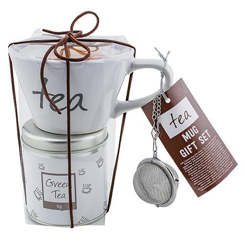 Dárkové sety Dárková sada Zelený čaj 5 g, bílý keramický hrnek s nápisem 200 ml, sušen