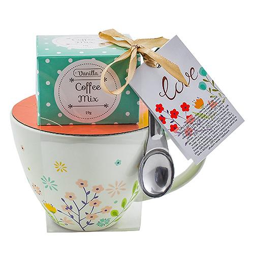 Dárkové sety Dárková sada Vanilková káva 19 g, bílý hrnek s motivem květin 300 ml, lži