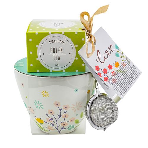 Dárkové sety Dárková sada Zelený čaj 5 g, bílý hrnek s motivem květin 300 ml, sítko