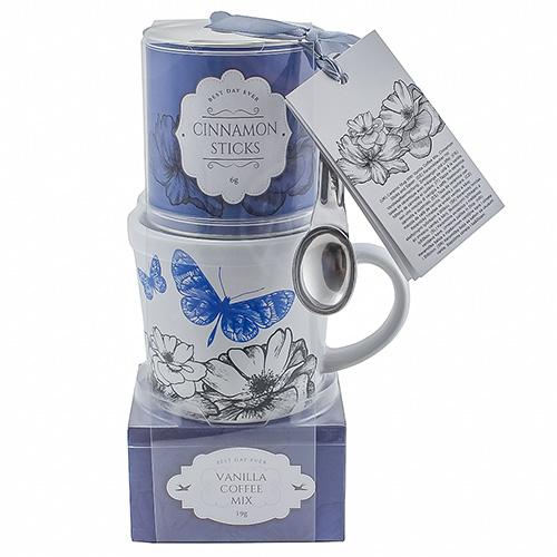 Dárkové sety Dárková sada Vanilková káva 19 g, hrnek s motivem květin a motýla 200 ml,