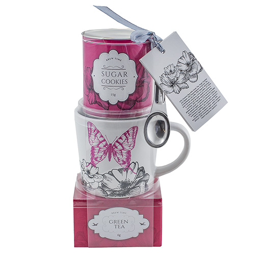 Dárkové sety Dárková sada Zelený čaj 20 g, hrnek s motivem květin a motýla 200 ml, ple