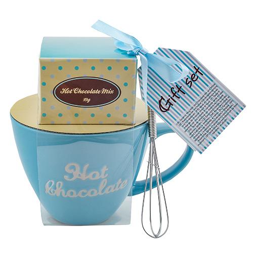 Dárkové sety Dárková sada Čokoláda 19 g, modrý keramický hrnek s nápisem 300 ml, metli
