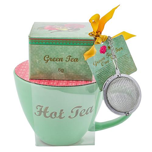 Dárkové sety Dárková sada Zelený čaj 6 g, zelený keramický hrnek s nápisem 300 ml, sít