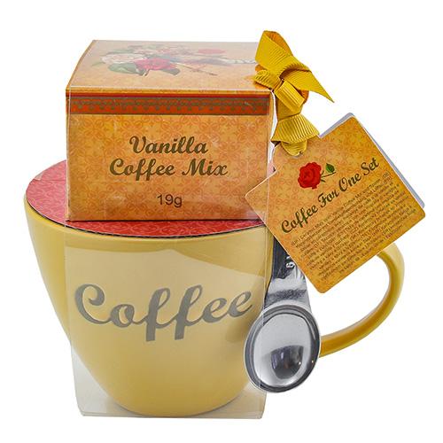 Dárkové sety Dárková sada Vanilková káva 19 g, žlutý keramický hrnek s nápisem 300 ml,