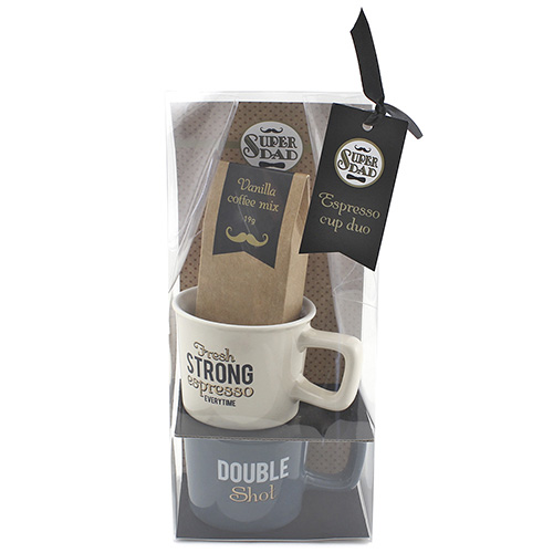 Dárkové sety Dárková sada Vanilková káva 19 g, 2x keramický hrnek 50 ml