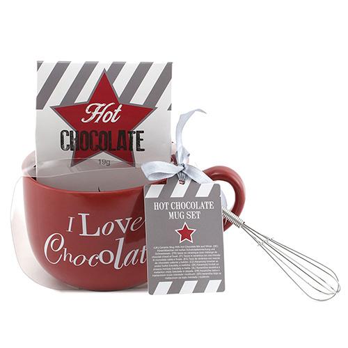 Dárkové sety Dárková sada Čokoláda 19 g, červený keramický hrnek s nápisem 500 ml, met