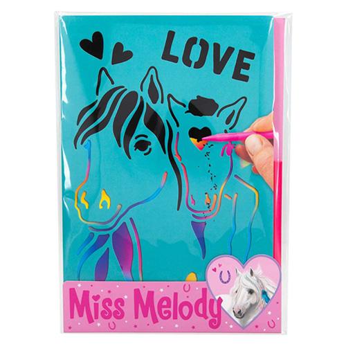 Škrabací obrázky Miss Melody S duhovým podkladem, včetně škrabátka