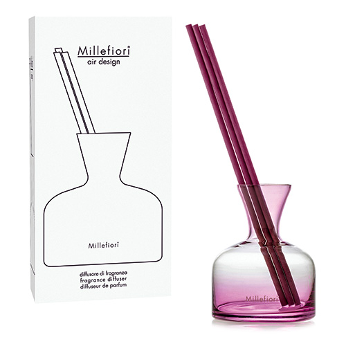 Skleněný difuzér Millefiori Milano Air Design, Vase, 3 tyčinky, růžový