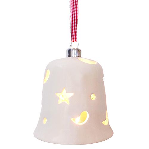 Dekorační zvon Idena s 10 LED žárovkama, 150 cm dlouhé poutko k zavěšení