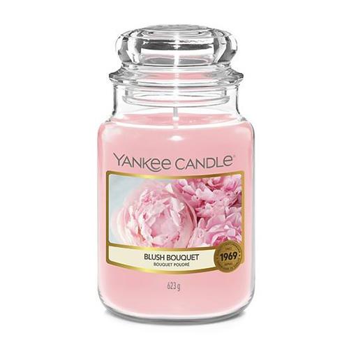 Svíčka ve skleněné dóze Yankee Candle Růžolící kytice, 623 g