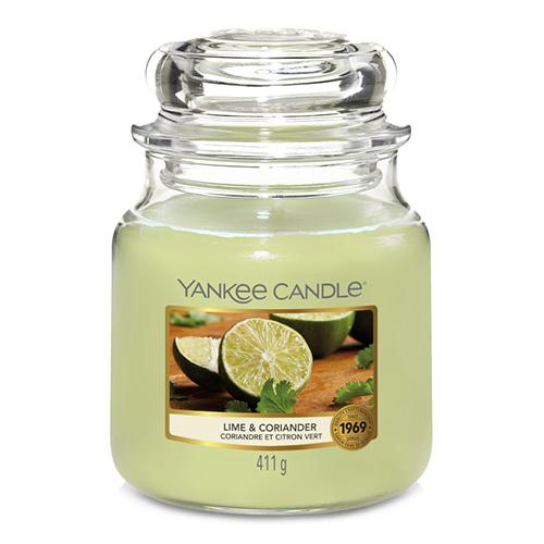 Svíčka ve skleněné dóze Yankee Candle Limetka a koriandr, 410 g