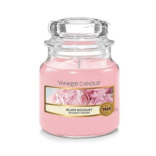 Svíčka ve skleněné dóze Yankee Candle Růžolící kytice, 104 g