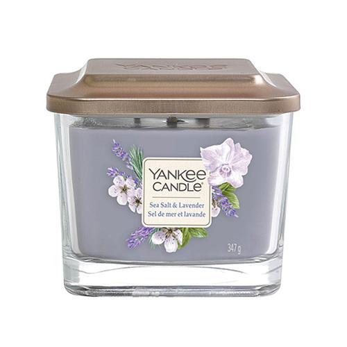 Svíčka ve skleněné váze Yankee Candle Mořská sůl a levandule, 347 g