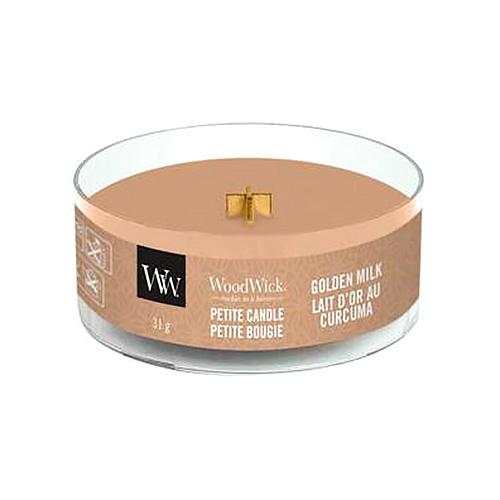 Drobná svíčka WoodWick Zlaté mléko, 31 g