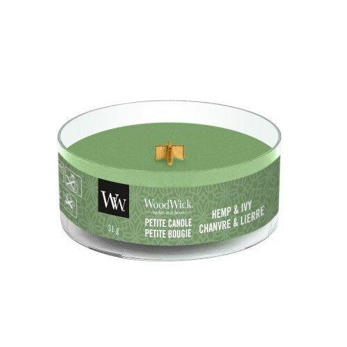 Drobná svíčka WoodWick Konopí a břečťan, 31 g