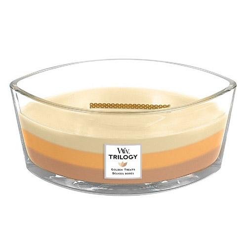 Svíčka Trilogy WoodWick Zlaté lahůdky, 453.6 g