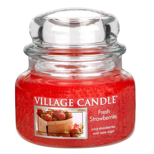 Svíčka ve skleněné dóze Village Candle Čerstvé jahody, 312 g