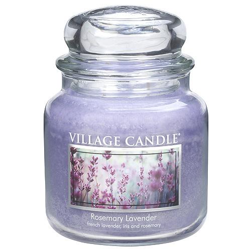 Svíčka ve skleněné dóze Village Candle Rozmarýn a levandule, 454 g