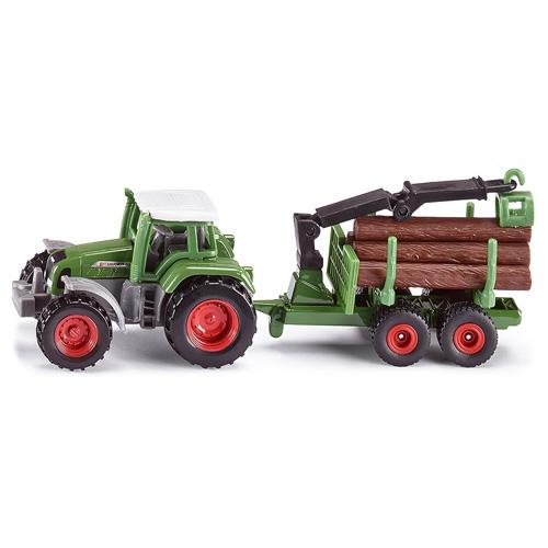Traktor SIKU Malý model traktoru Fendt s přívěsem na klády. Přívěs je vyb