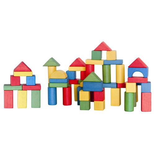 Stavebnice Woody 100 dílků -  barevné dřevěné kostky