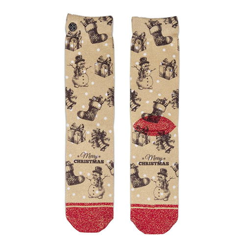 Dámské ponožky XPOOOS Xmas Vintage Dots | Tělová | UNIVERZÁLNÍ