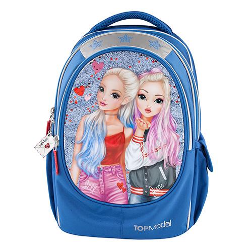 Školní batoh Top Model Jill a June, modrý s glitry