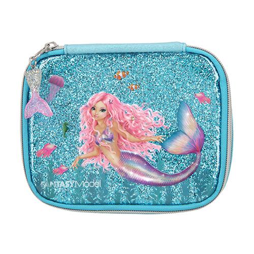 Kosmetická taška Fantasy Model Mořská panna, tyrkysová s glitry