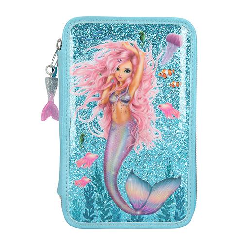 Penál s výbavou Fantasy Model Mořská panna, třípatrový, tyrkysový s glitry
