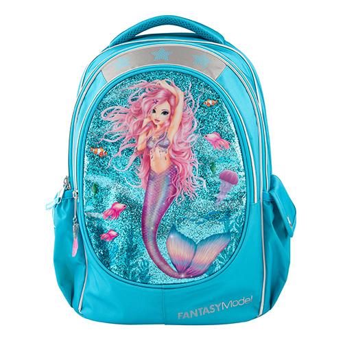 Školní batoh Fantasy Model Mořská panna, tyrkysový s glitry