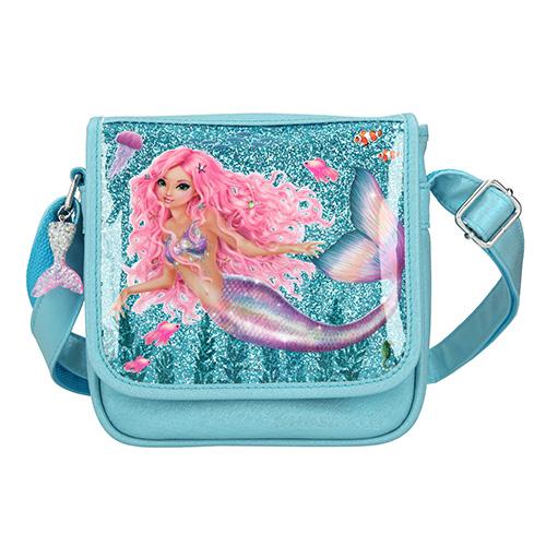 Taška přes rameno Fantasy Model Mořská panna, tyrkysová s flitry