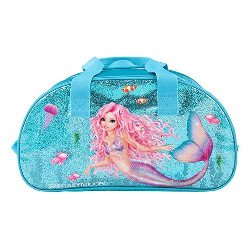 Sportovní taška Fantasy Model Mořská panna, tyrkysová s glitry