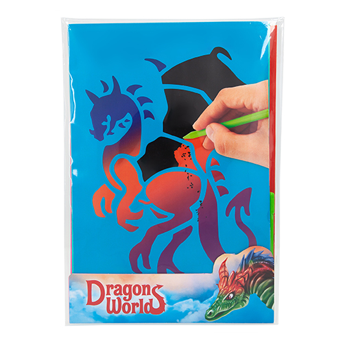 Škrabací obrázky Dino World S duhovým podkladem, včetně škrabátka