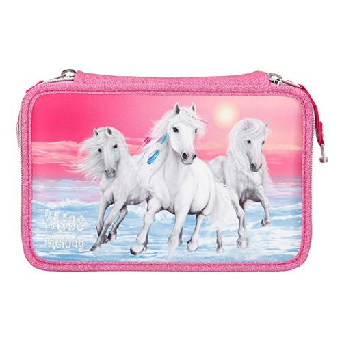 Penál s výbavou Miss Melody Miss Melody a dva koně, růžový